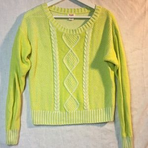 Neon yellow cable sweater